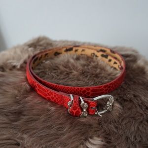 Betsy Johnson Faux Leather Red Silver Western Belt